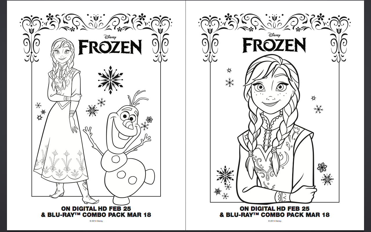 5 Images of Frozen Printable Coloring Birthday Cards