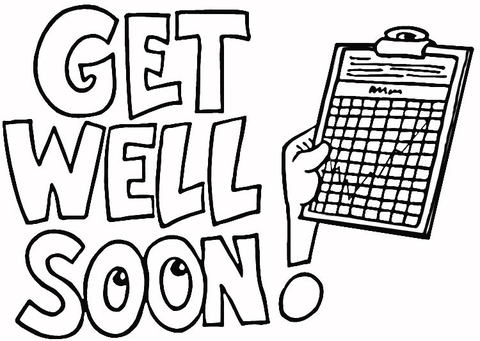 4 best images of get well coloring cards printable for Get well soon card coloring pages