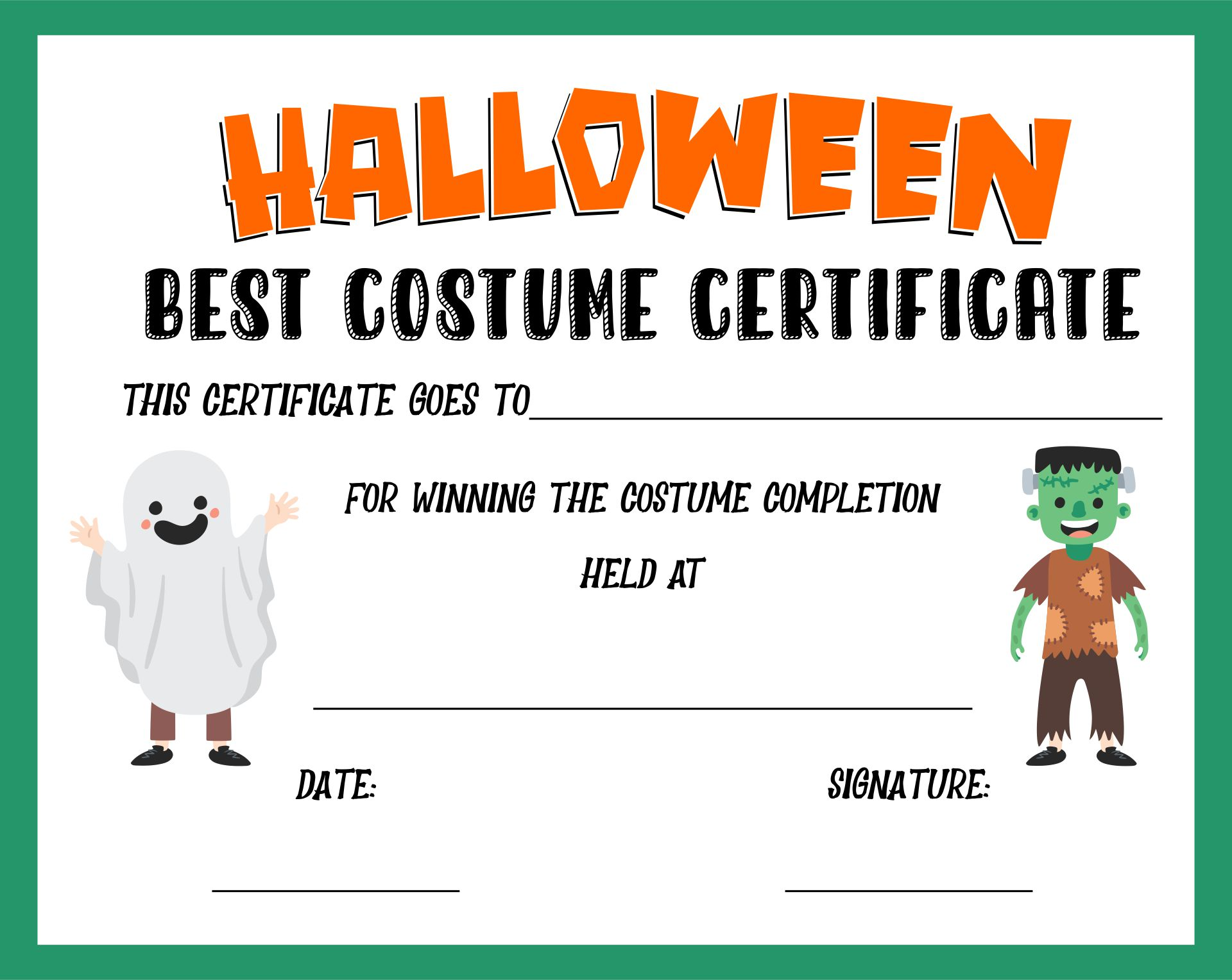 4 Images of Halloween Costume Certificates Printable
