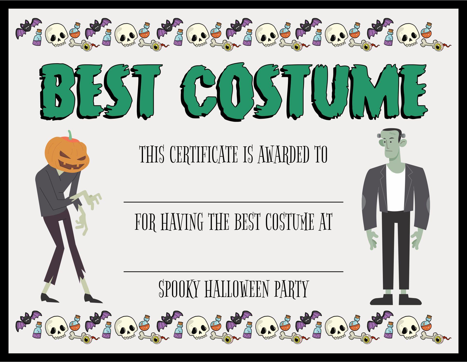 Halloween Costume Contest Certificates