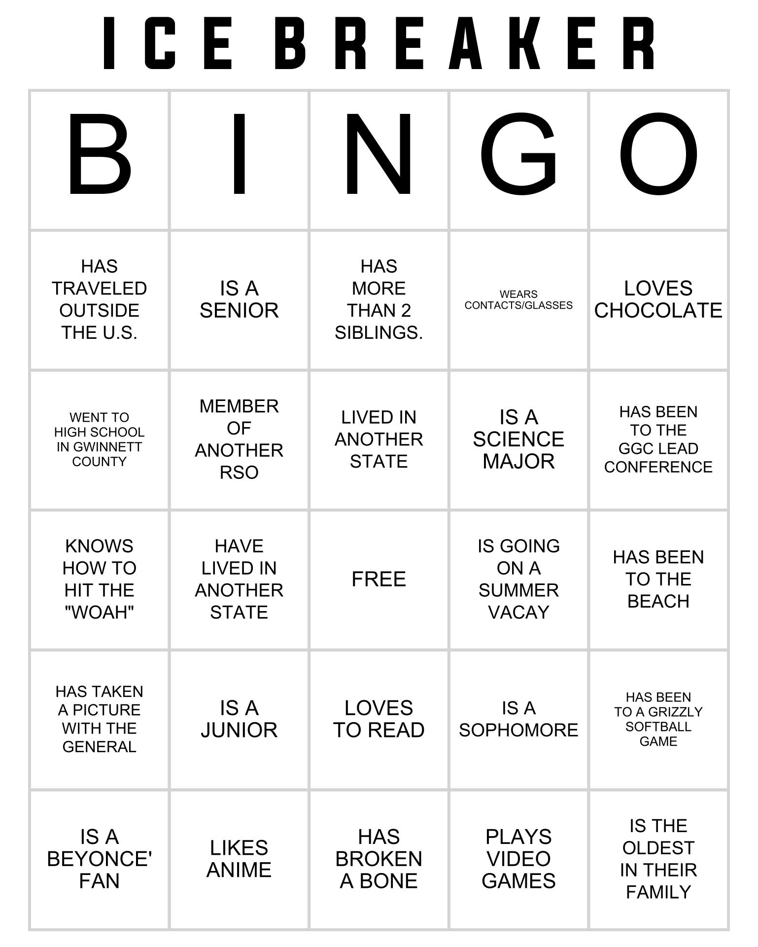 Ice Breaker People Bingo Cards