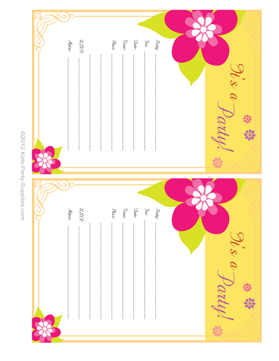 9 Images of Free Printable Blank Birthday Invitations Luau Party