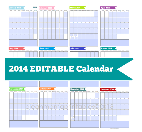 8 Images of 2014 Printable Calendar Editable