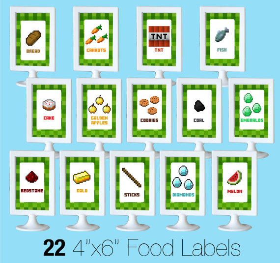 9 Images of Minecraft Party Food Labels Free Printable