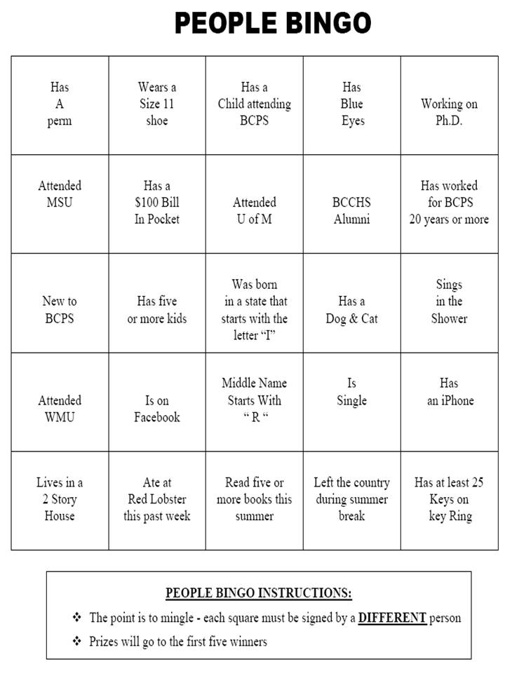People Bingo Template