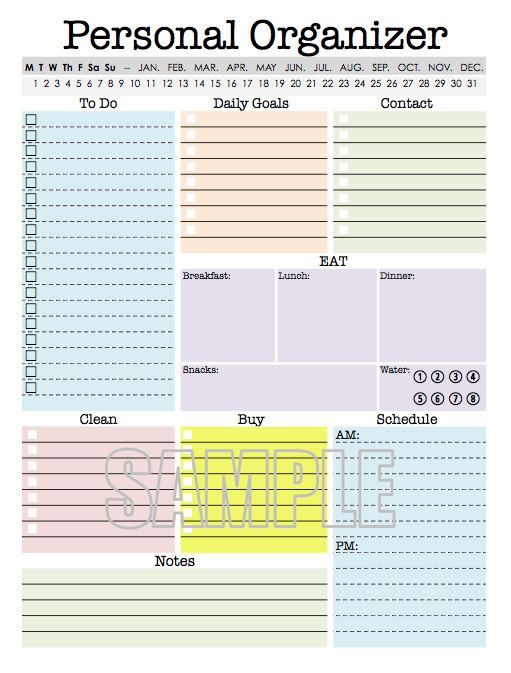 9 Images of Free Printables Planners Personal Organizers