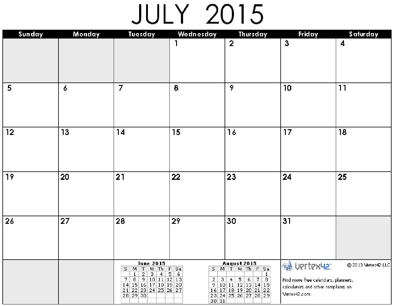 8 Images of July Printable Calendars 2015