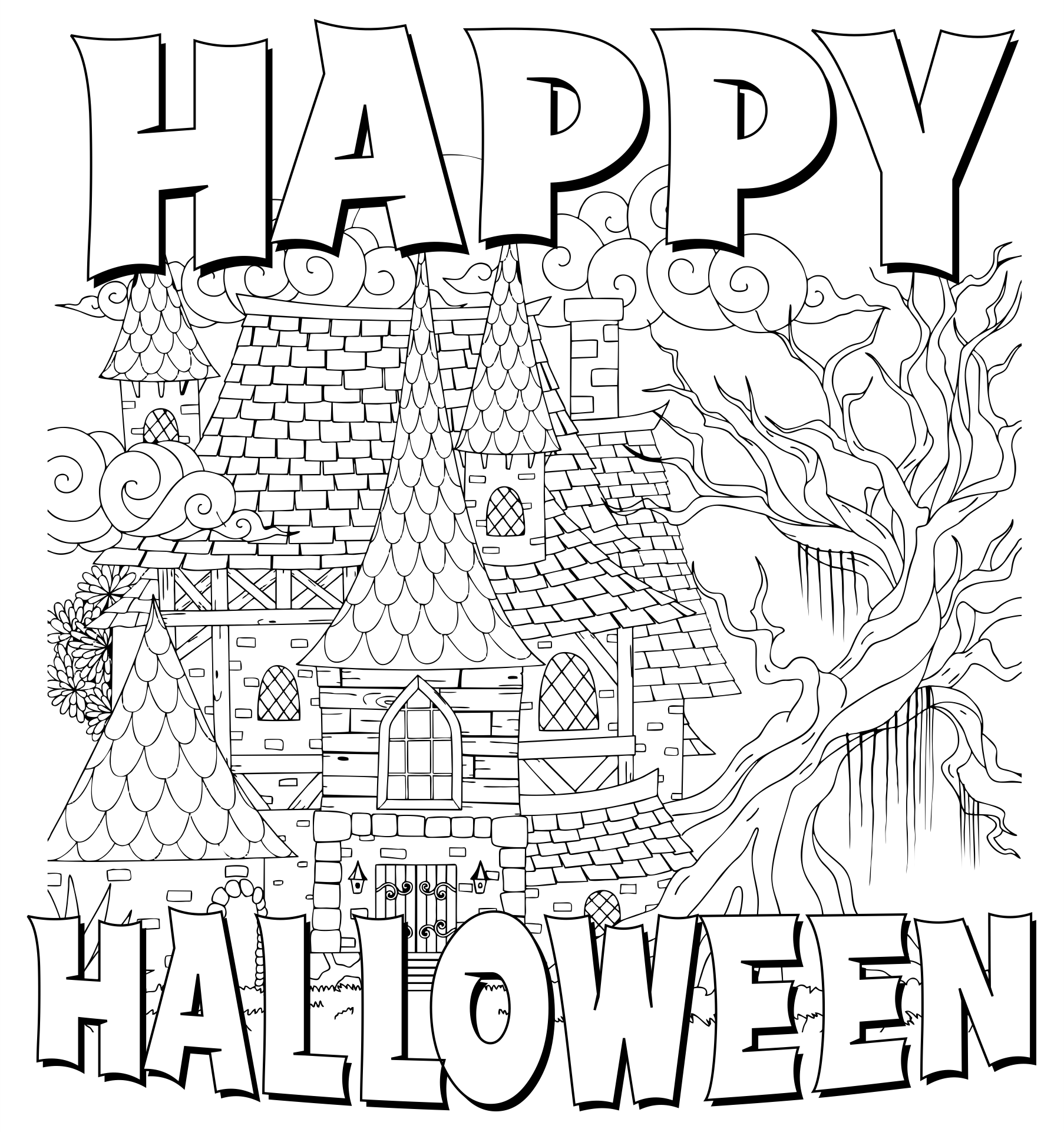 Printable Halloween Coloring Pages Adult