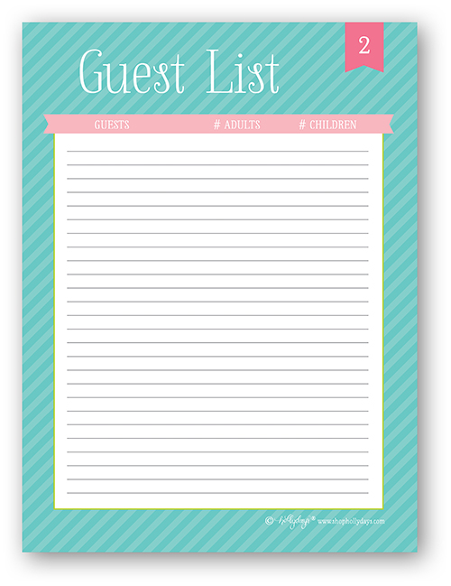 7 Images of Guest List Printable