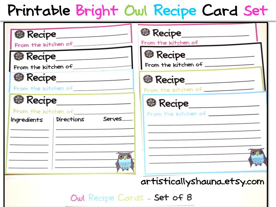 4 Images of Printable Owl Recipe Cards