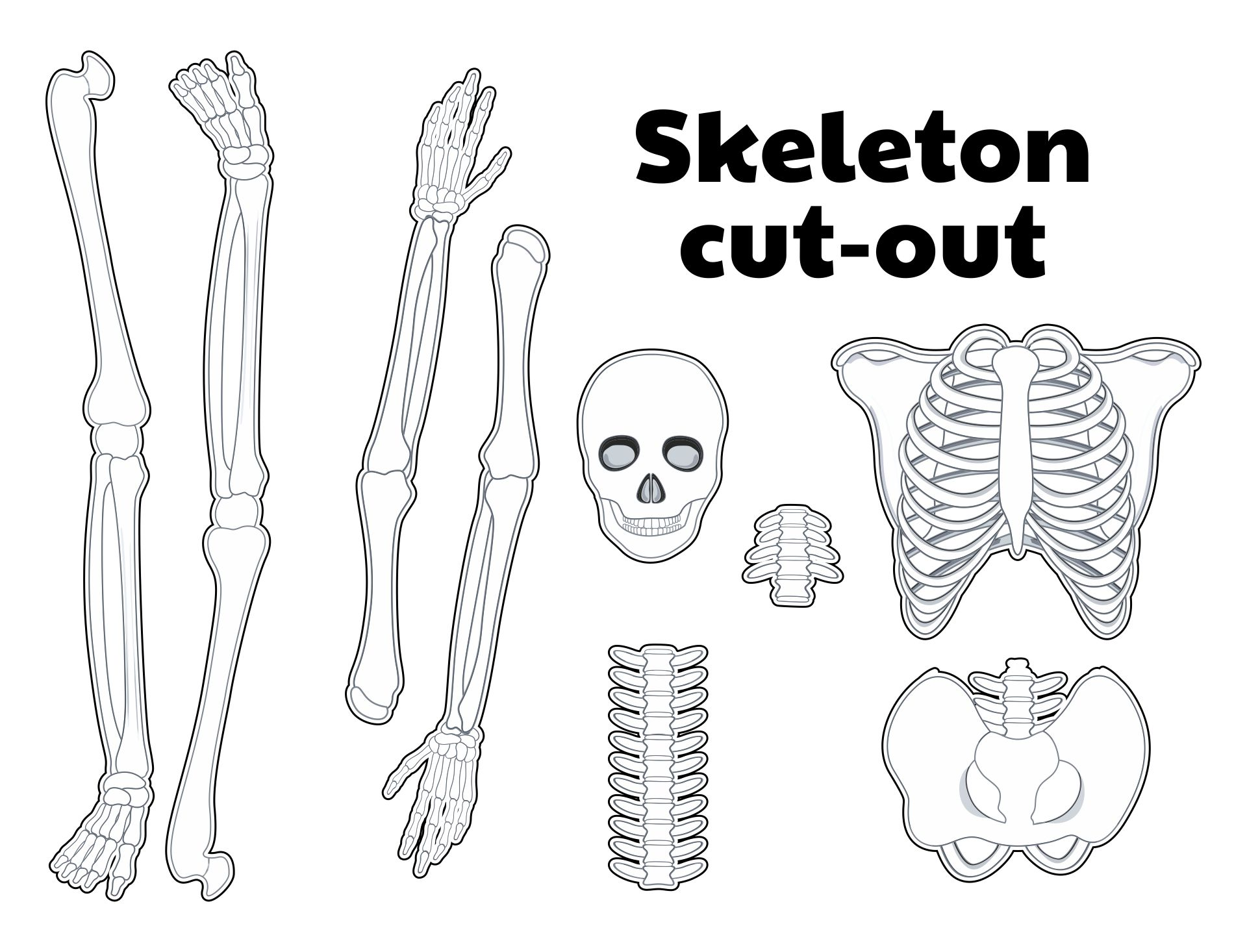 4 Images of Printable Halloween Skeleton Patterns