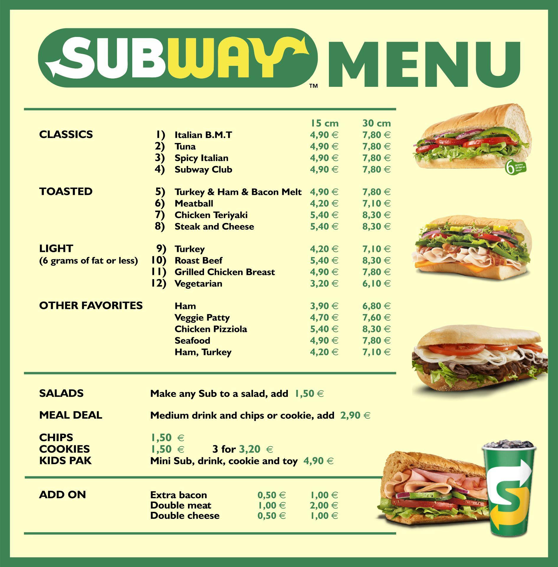 Printable Subway Menu