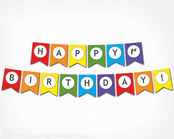 7 Images of Printable Circle Banner Happy Birthday Rainbow