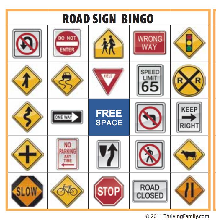 7 Images of Street Sign Bingo Printable