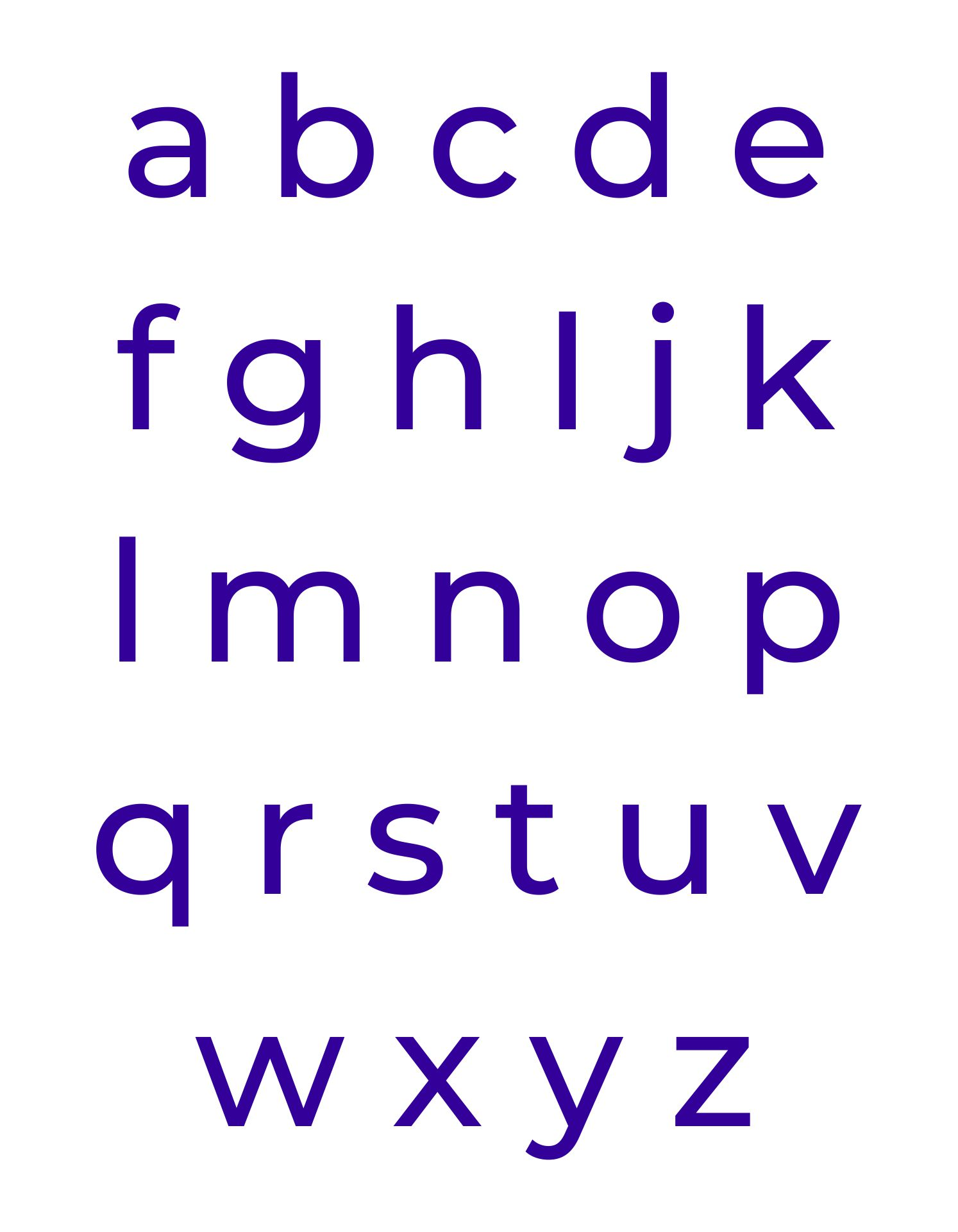Small Alphabet Letters Printable PDF