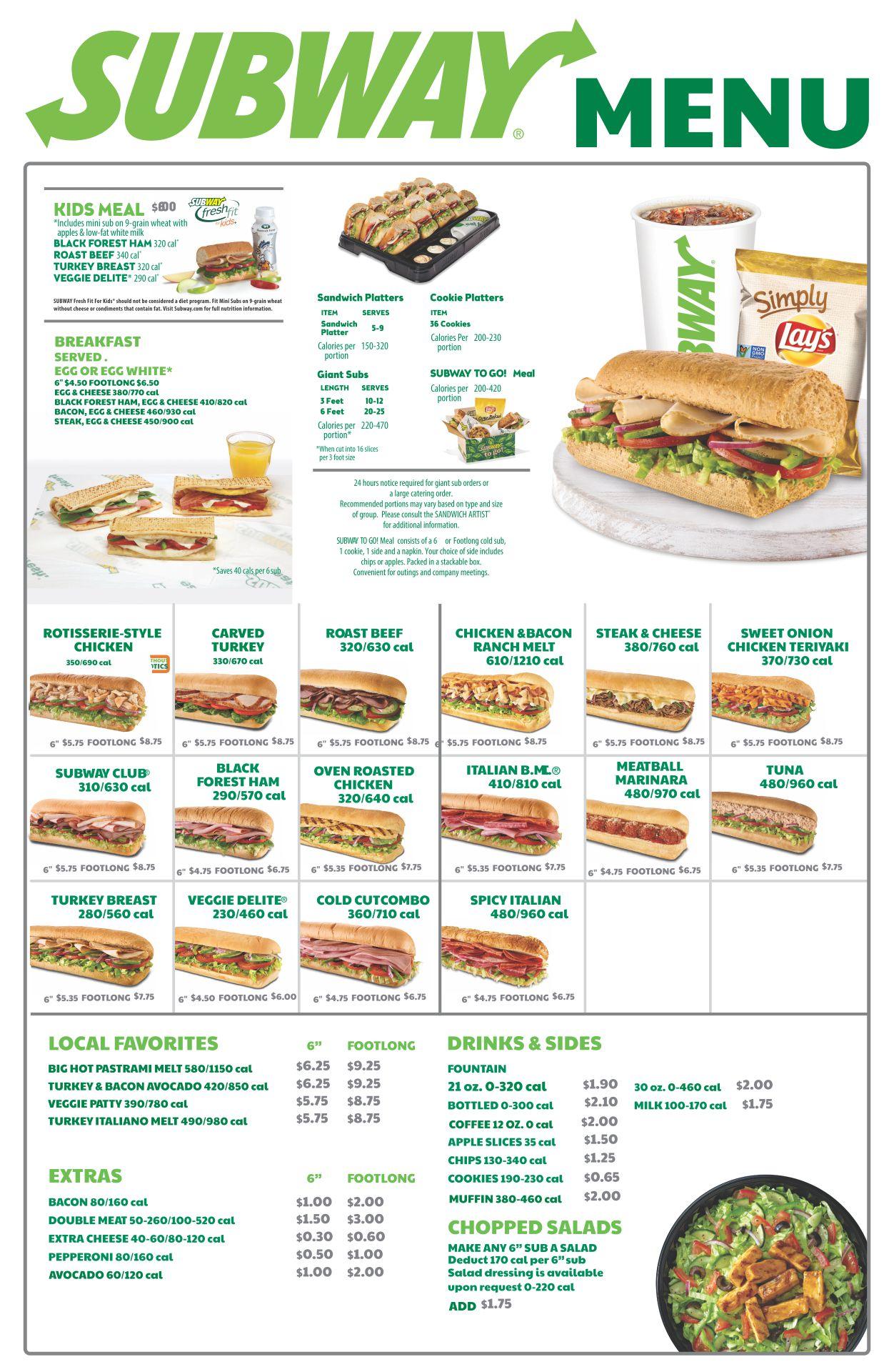 Subway Menu Prices