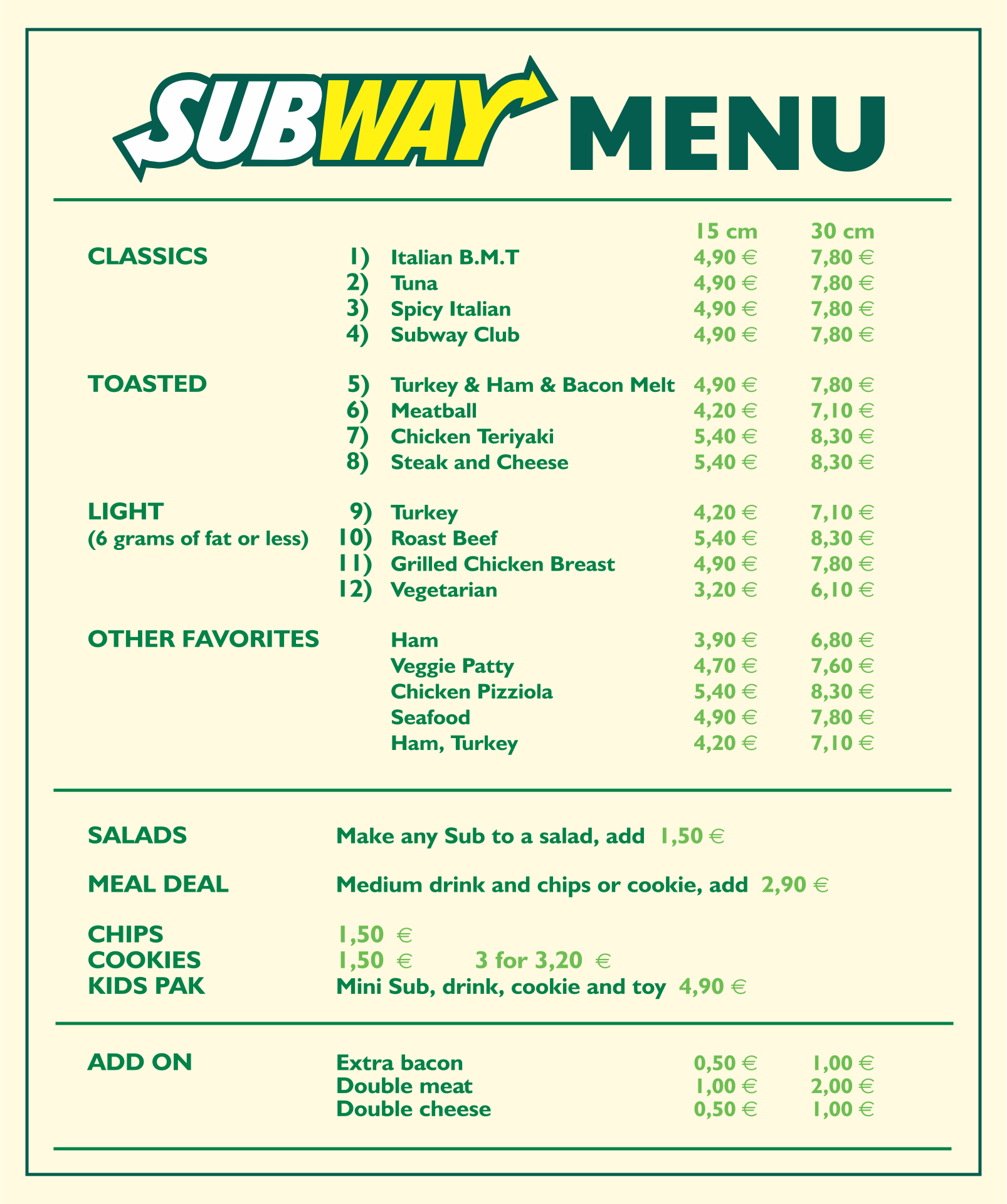 8 Best Printable Subway Menu 2015 Printablee Com