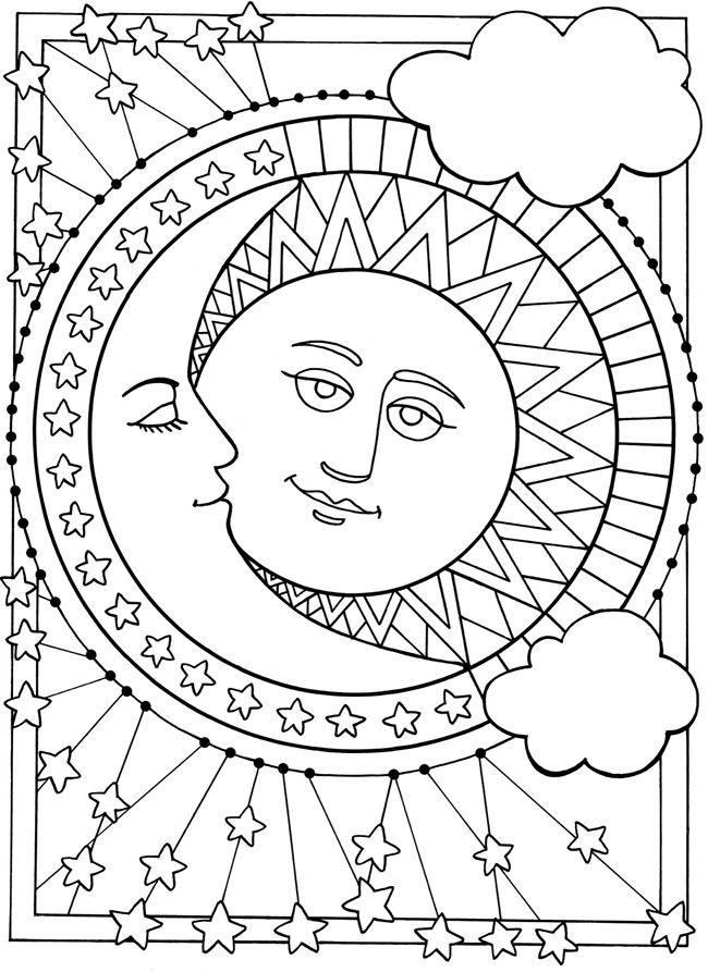 5 Images of Sun Moon And Stars Coloring Pages Printable