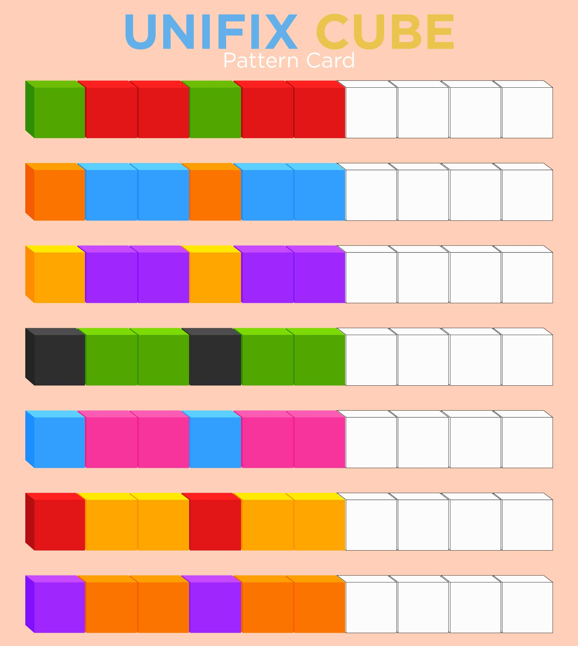 Printables Unifix Cubes Worksheets 5 best images of unifix cube template printable cubes pattern cards printable