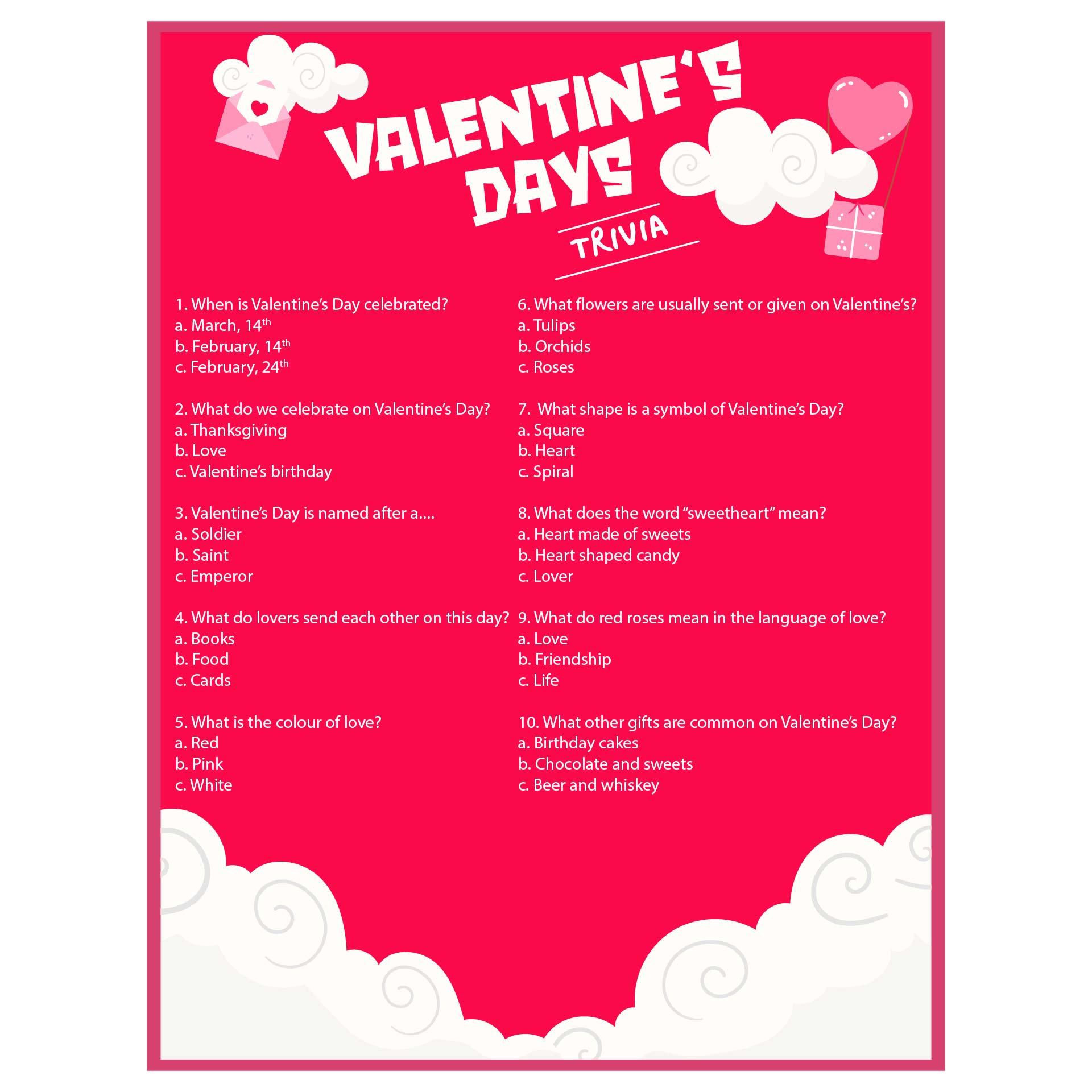 8 Images of Printable Valentine's Trivia