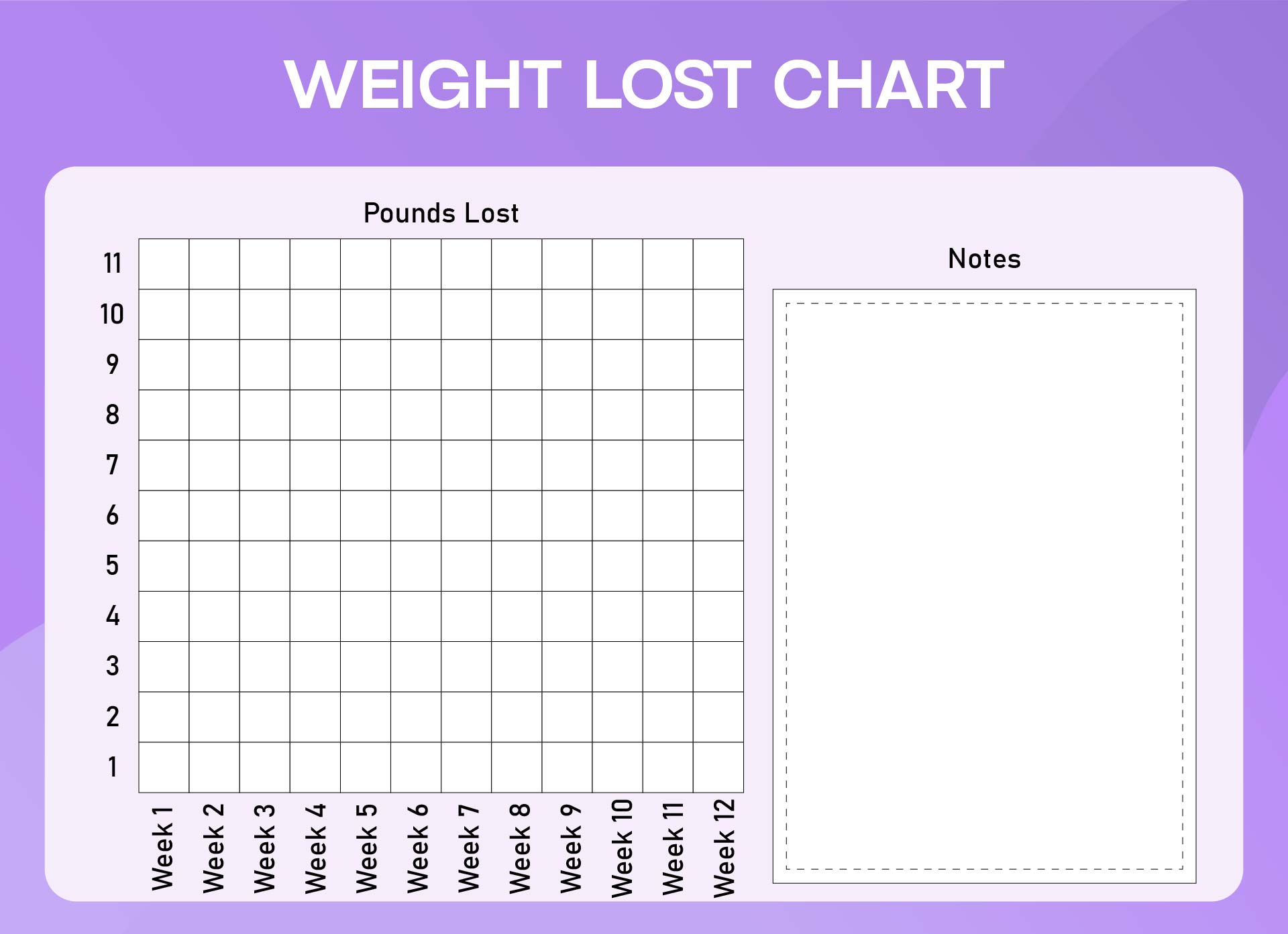 weekly weight loss chart free printable