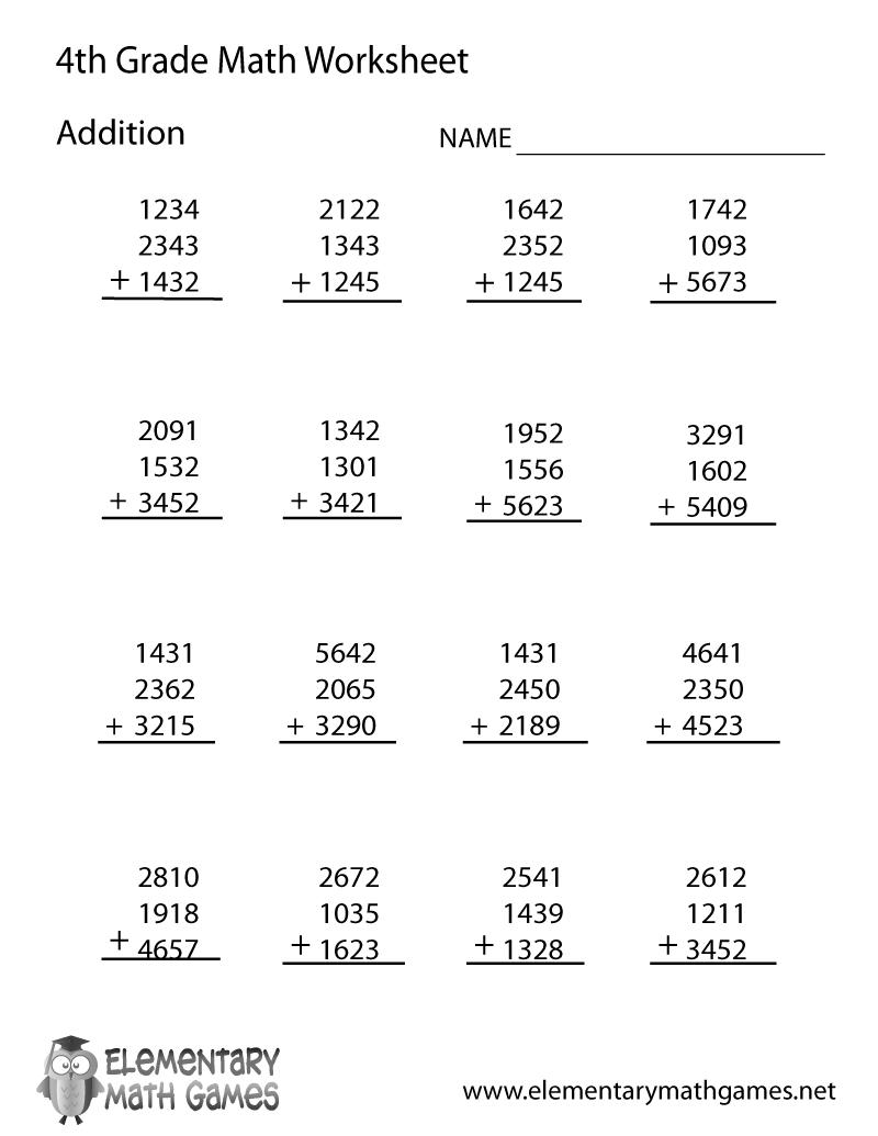 math worksheet : math addition grade 4 worksheets  educational math activities : Math Addition Worksheets Free