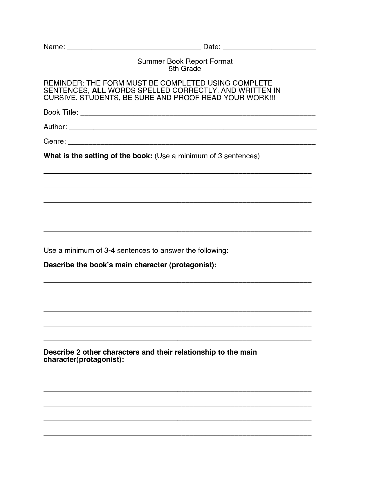 Book Report Form and 5th Grade Book Report Worksheet Printable