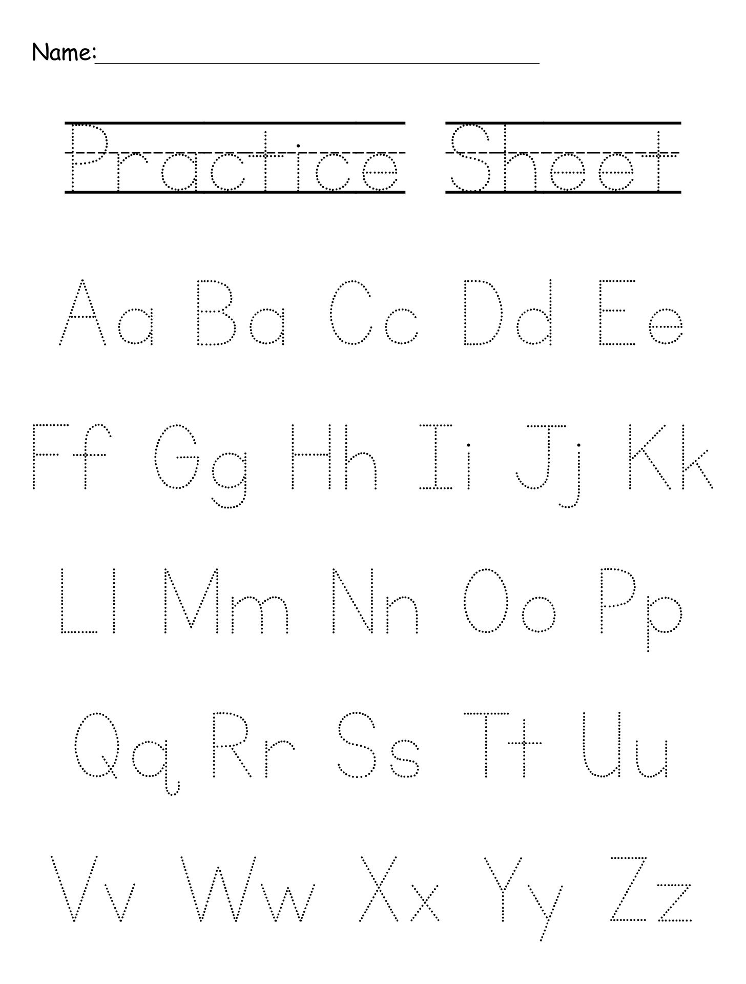 Alphabet Writing Practice Letter Sheets