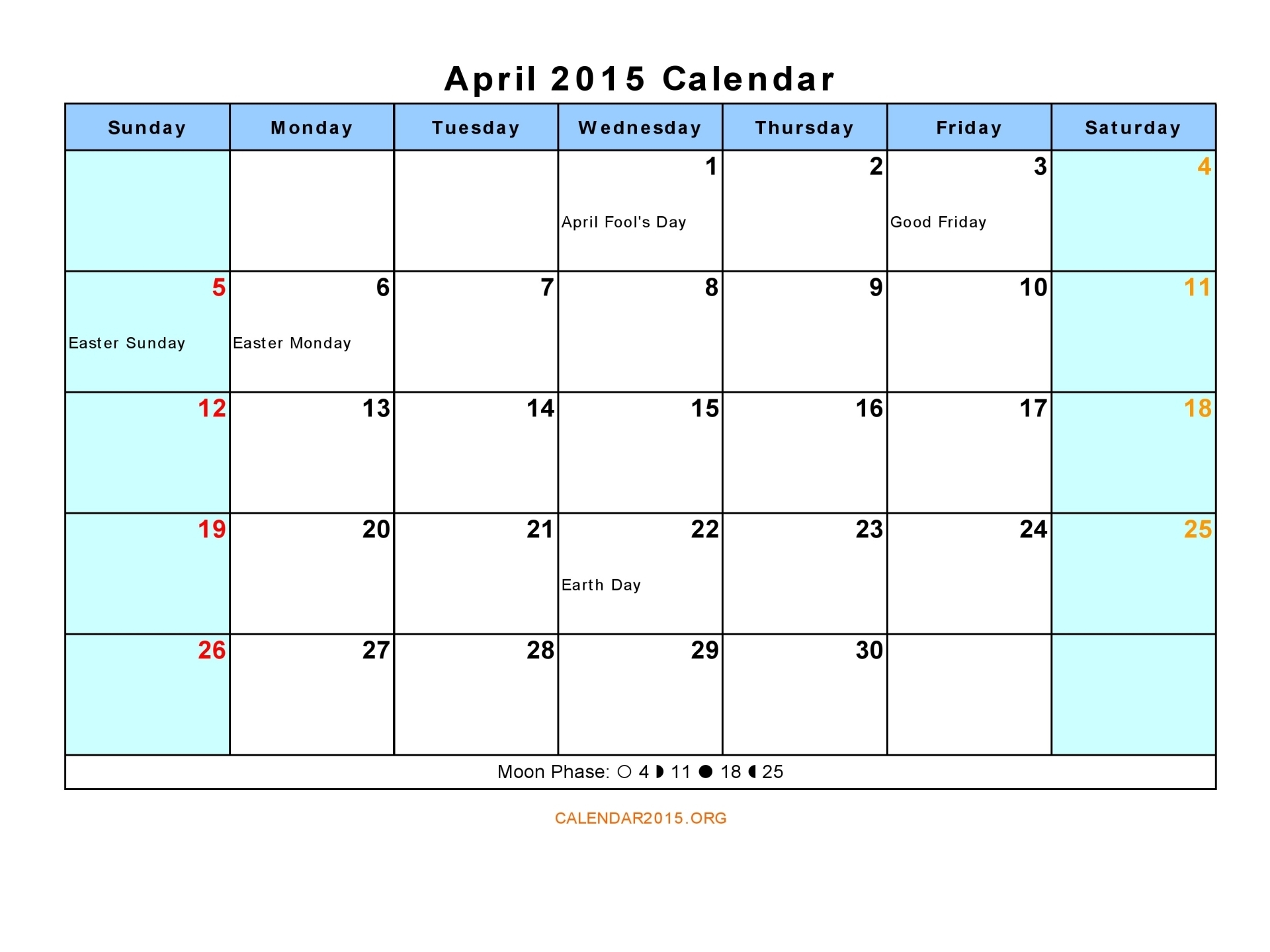 Calendar April 2015 : Best images of april calendar printable pdf blank