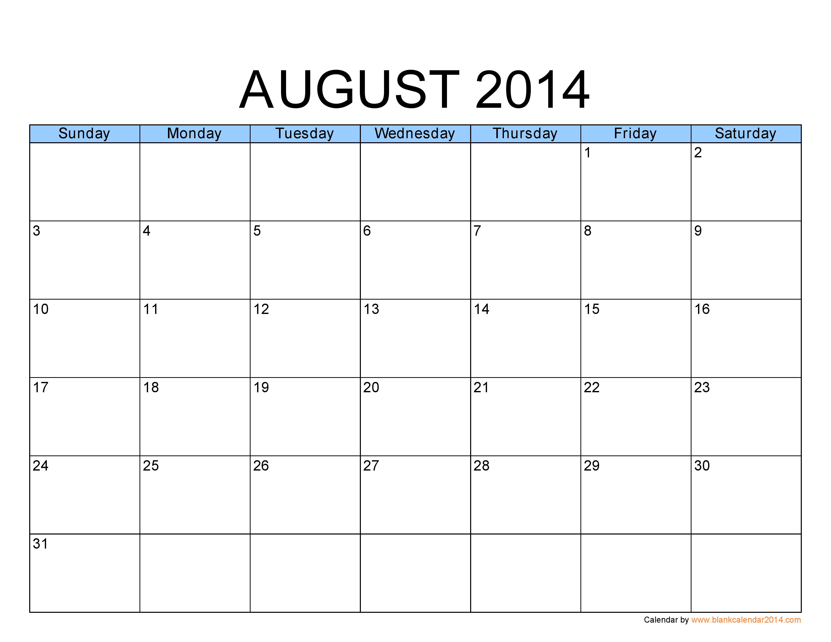 5 Images of Aug 2014 Calendar Printable Template