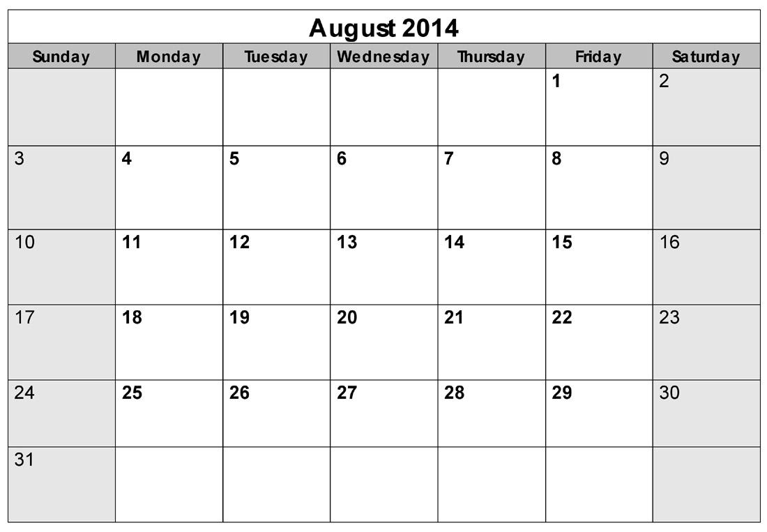 August Calendar 2014 : Best images of aug calendar printable template