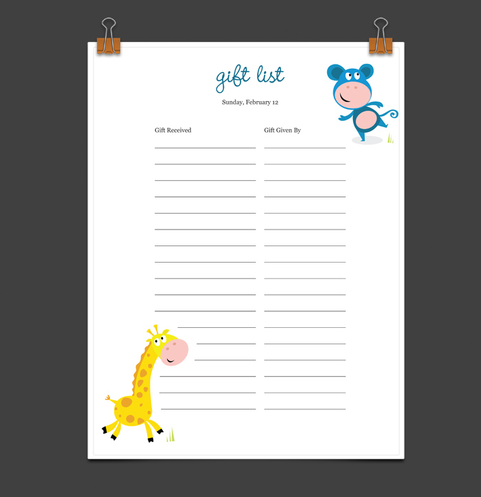 Example Baby Shower Gift List Gifts – Sample Baby Shower Checklist Template