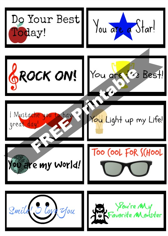 Back to School Lunch Box Notes Printable