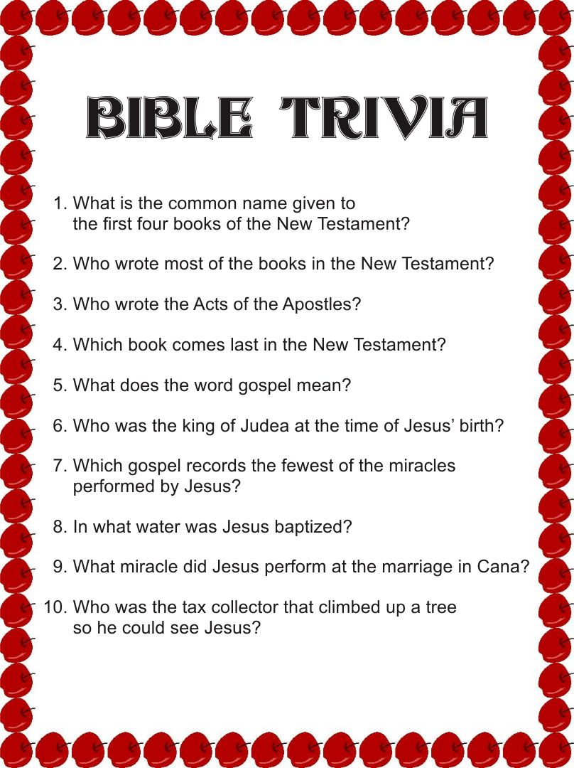 Bible Trivia Game Questions