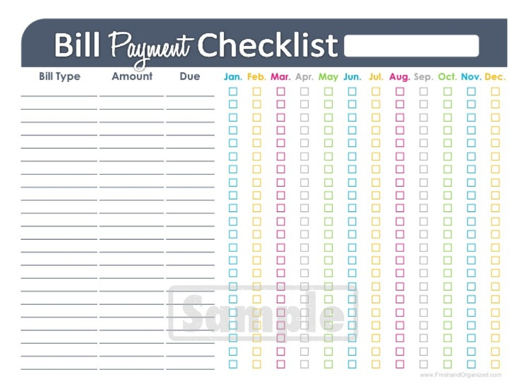 Worksheet - Bill Payment Checklist Printable, Printable Monthly Bill ...