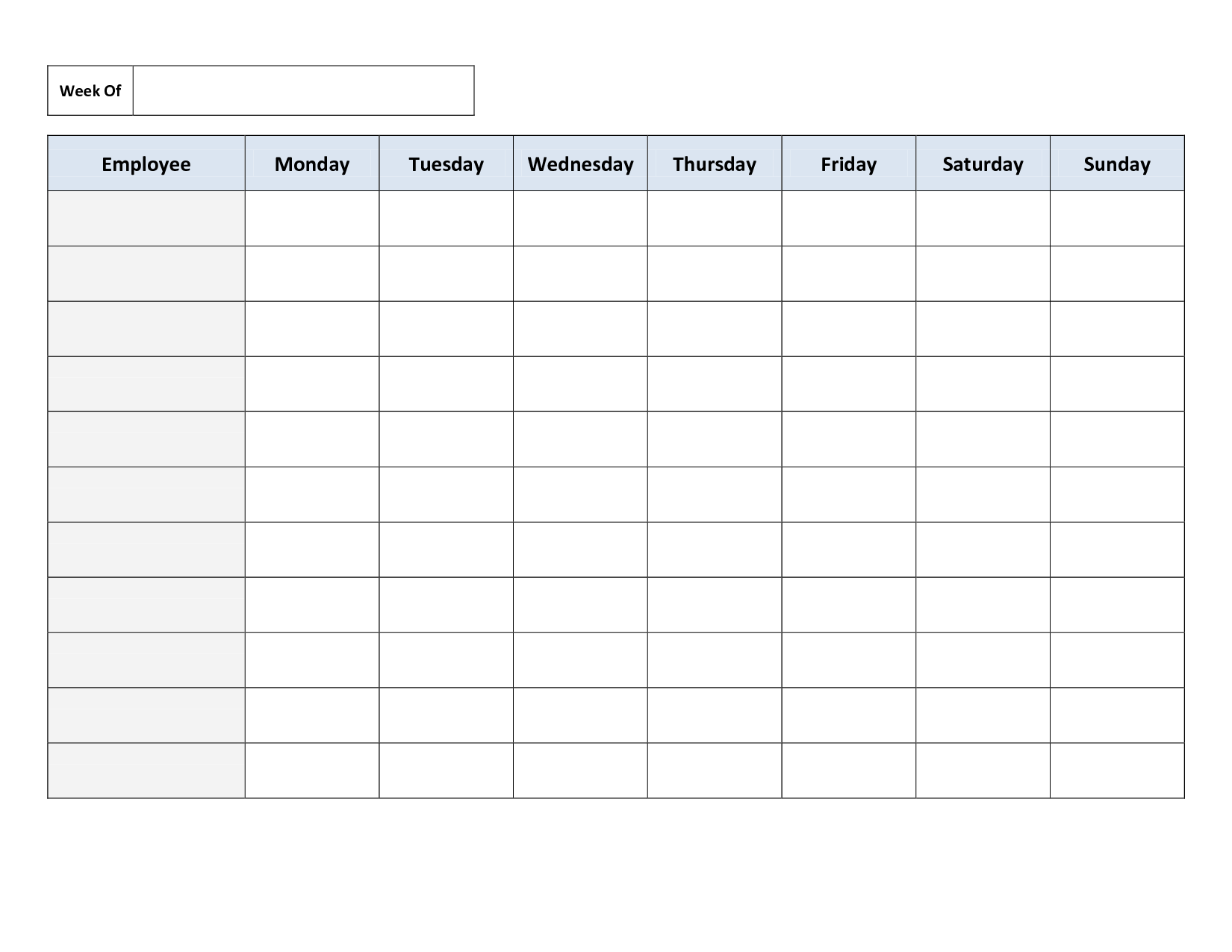 8 Images of Weekly Employee Schedule Template Printable