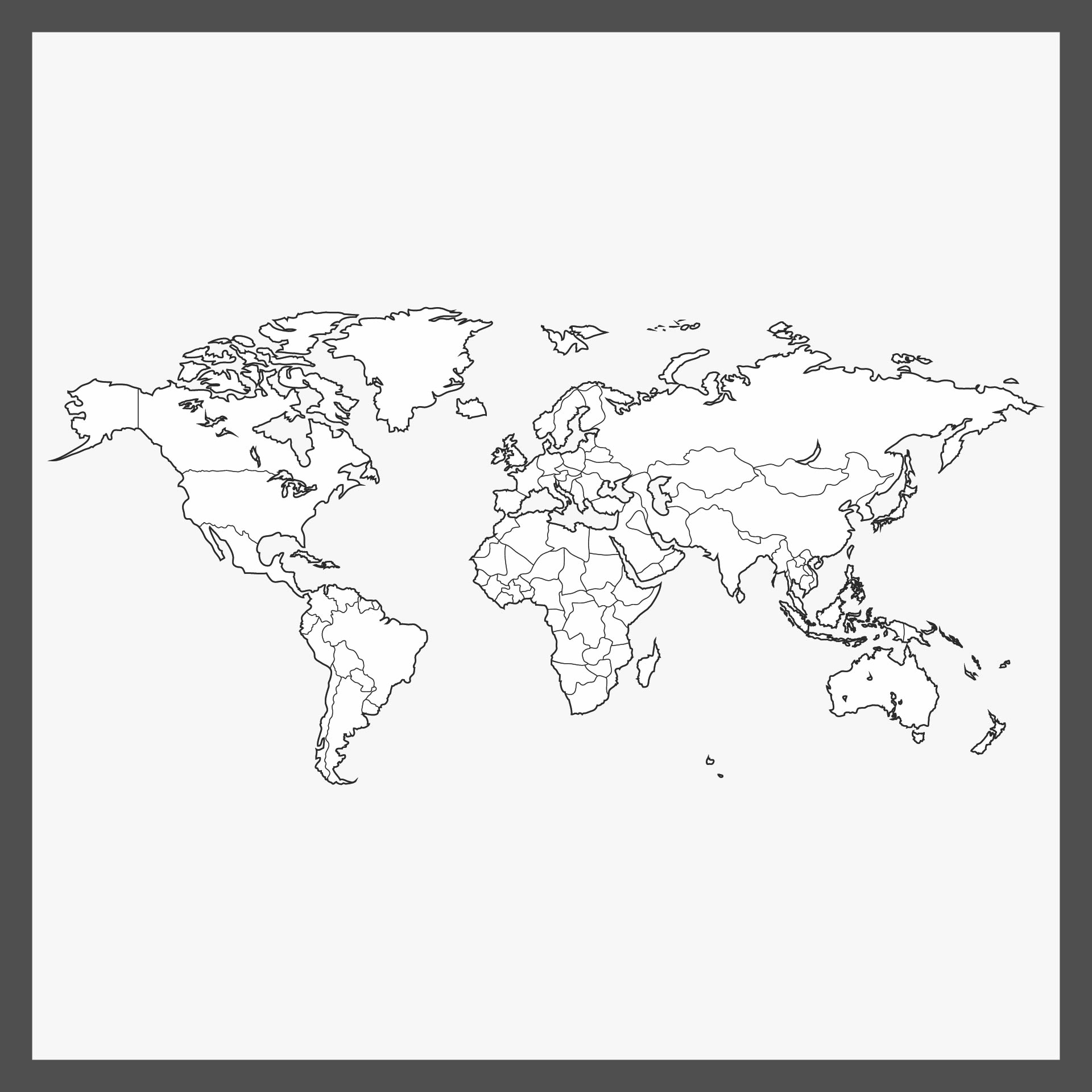 Blank World Map Black and White