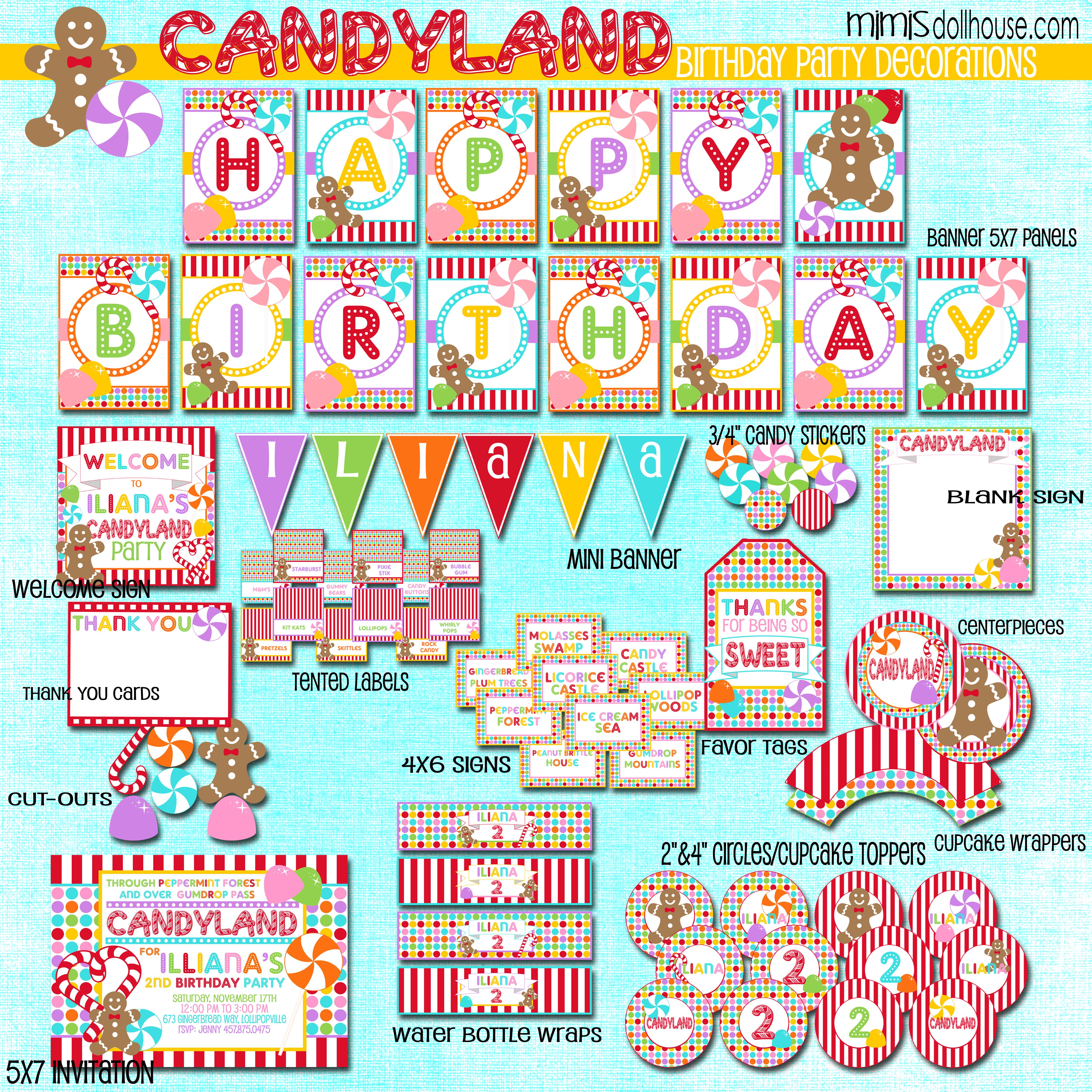 5 Images of Candyland Party Free Printables