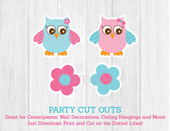 6 Images of Blue Owl Cut Outs Printables
