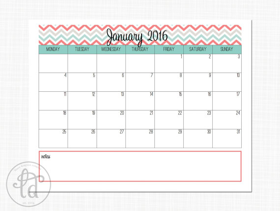 9 Images of Chevron Printable Calendar 2016