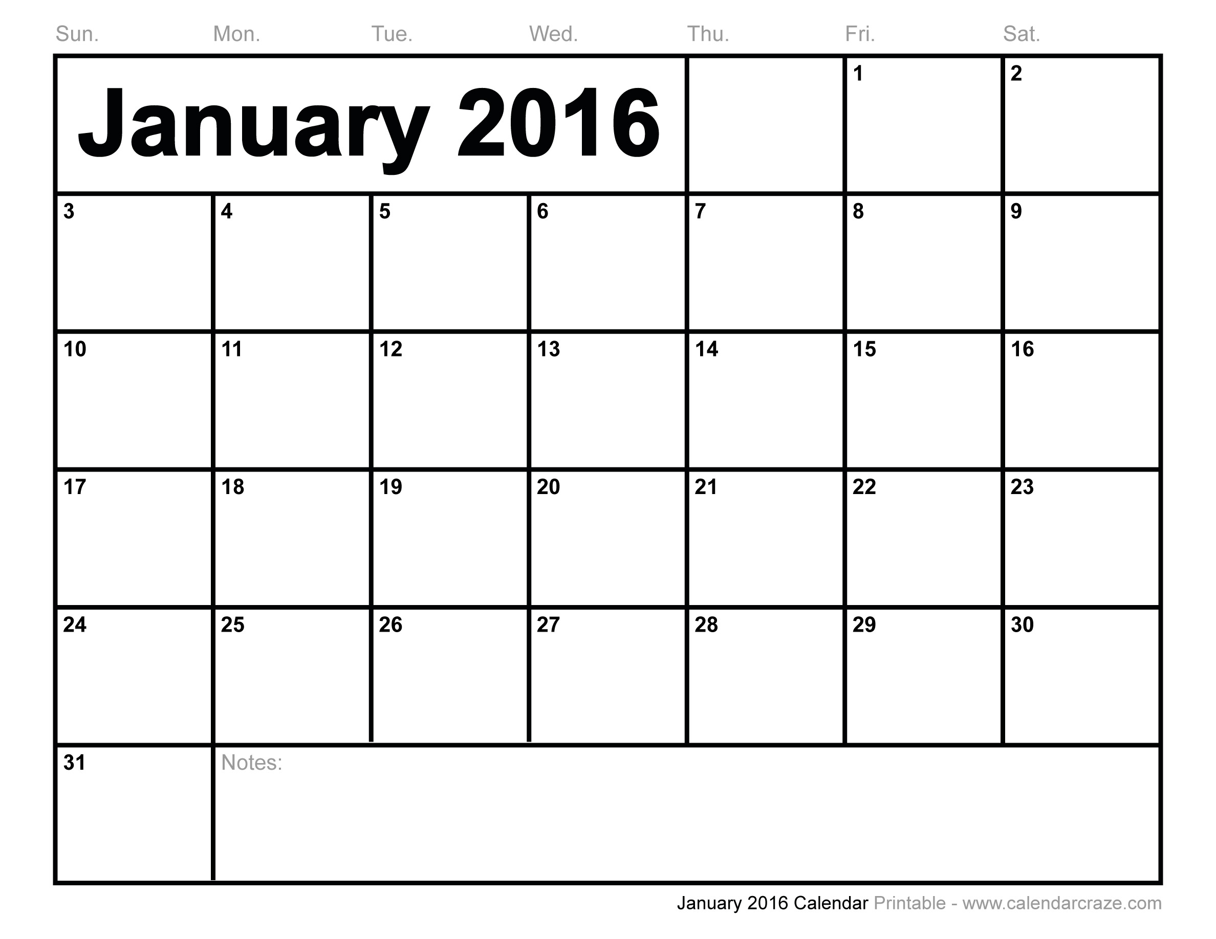 of 2016 Calendar Printable January Through December - January 2016 ...