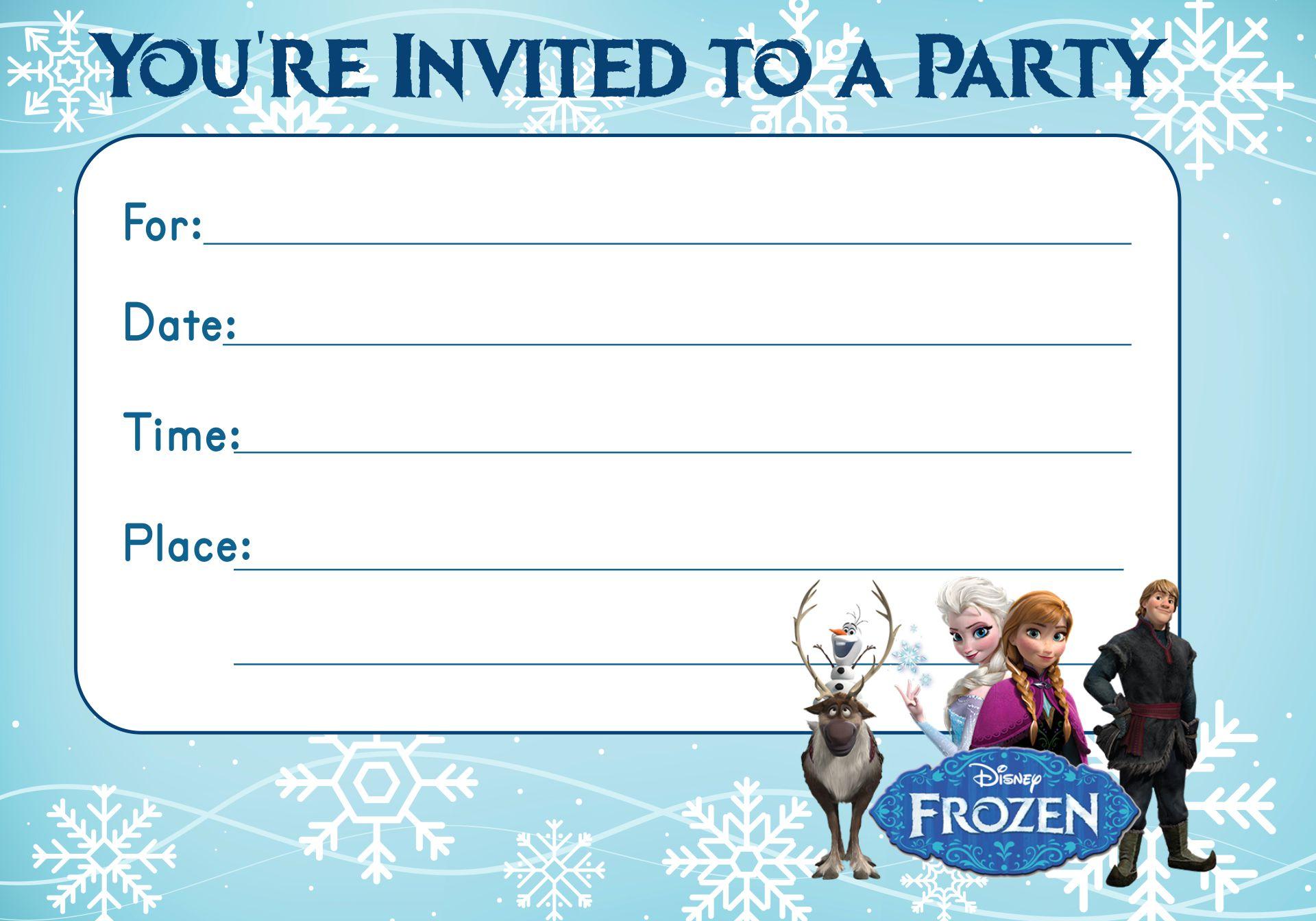 Disney Frozen Party Invitations Editable