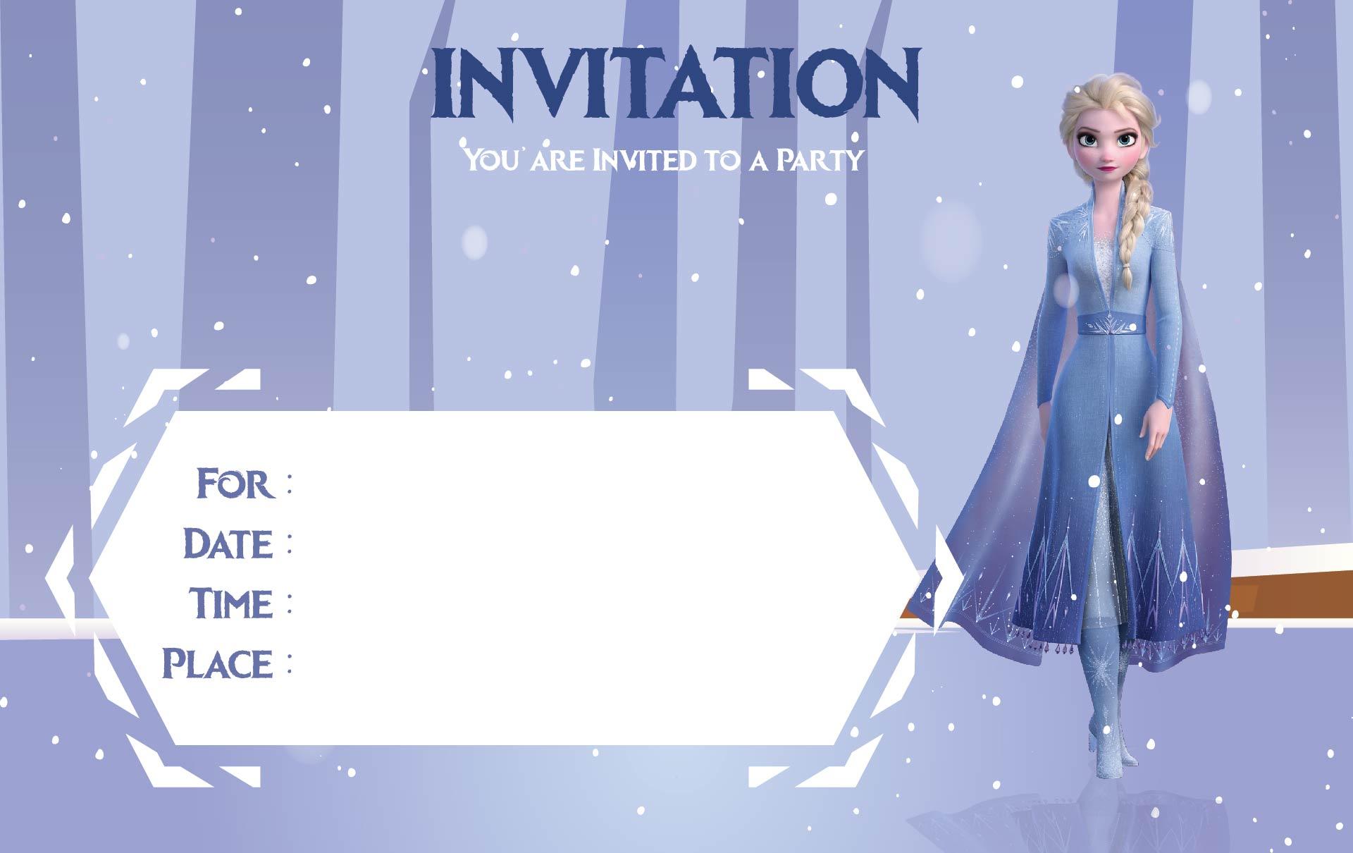 Elsa Frozen Birthday Party Invitations Editable