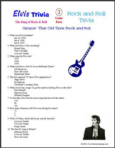 Elvis Presley Printable Trivia