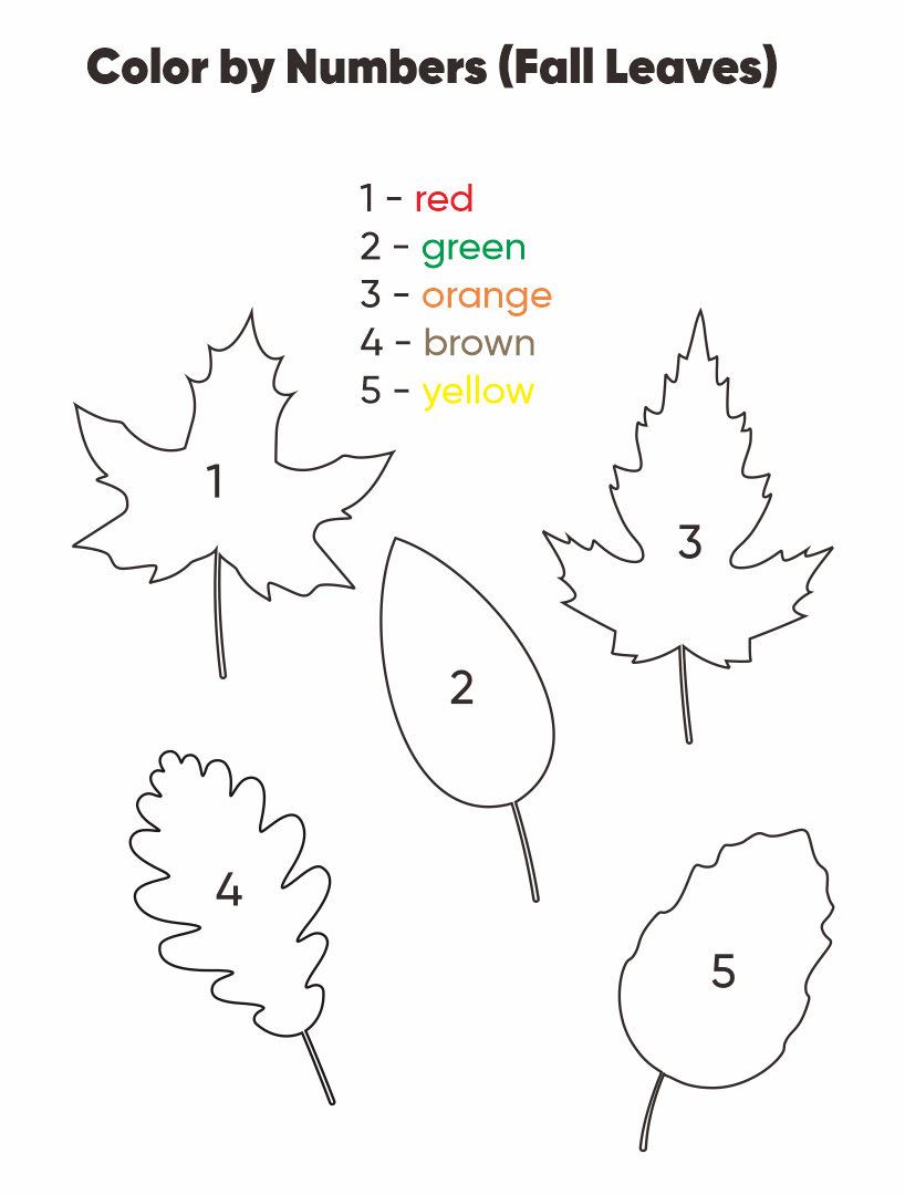 Fall Leaves Preschool Color by Numbers Worksheets