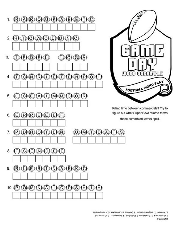 5 Images of Printable Football Word Games