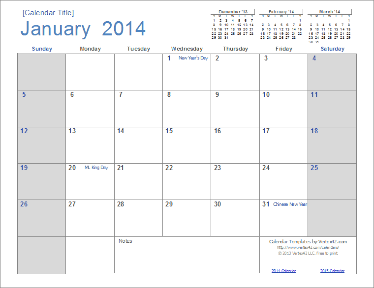 4 Images of Printable 2014 Monthly Planner Template