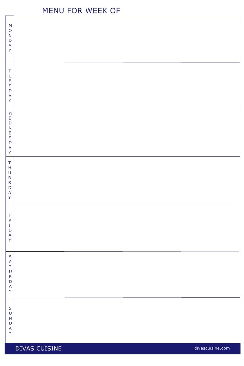 Free Printable Blank Weekly Menu Templates