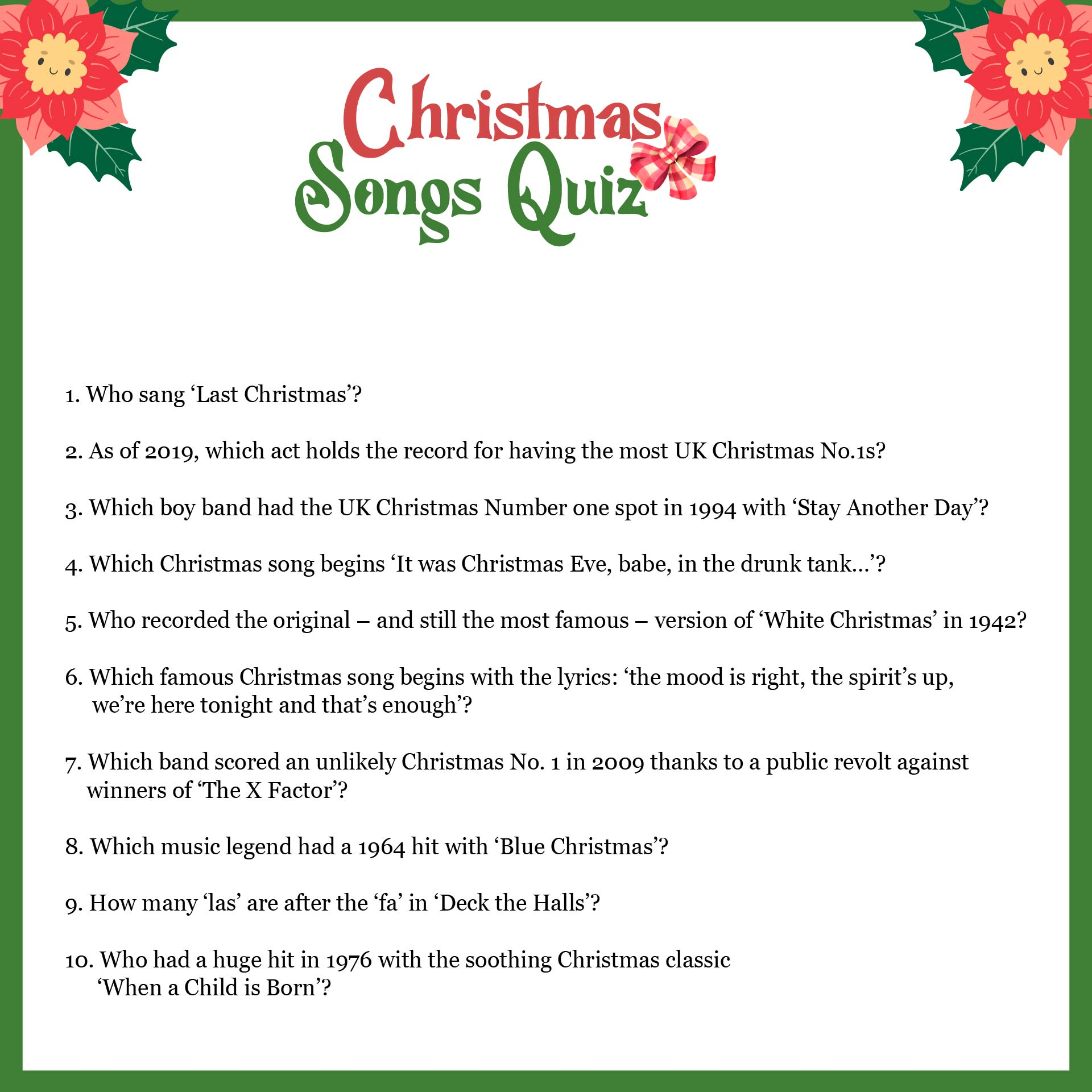 Printable Christmas Carol Quiz