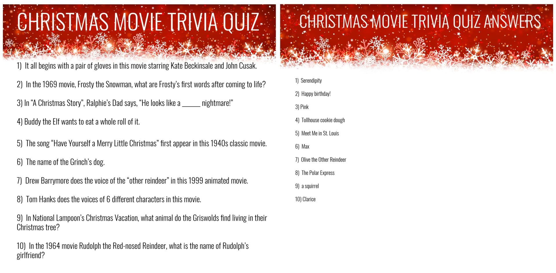 Printable Christmas Trivia Quiz